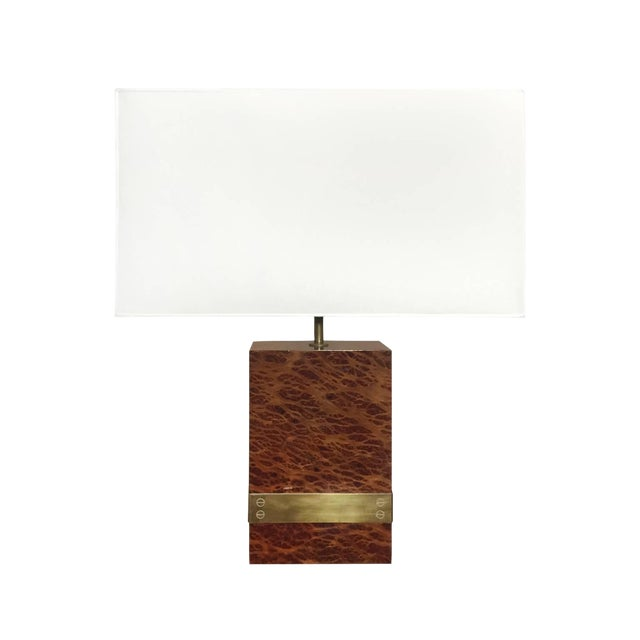Vintage French Burl Wood and Bronze Banded Table Lamp For Sale