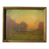 "Image of Vintage Impressionist Michigan Tonalist Painting, ""Summer Sunset"" by Ernest Harrison Barnes For Sale"