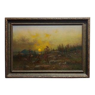John Hammerstad -Winter Sunset Over a Wooded Landscape- Oil Painting For Sale
