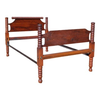Antique Primitive Solid Chestnut & Pine Full Double Spool Bed 1800s For Sale