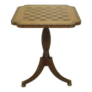 Maitland Smith Checkerboard Inlaid Top Mahogany Table For Sale