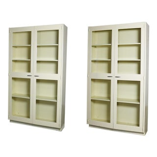 Industrial Metal Cabinet With Glass Doors for Display or Bookcase – Two Available For Sale