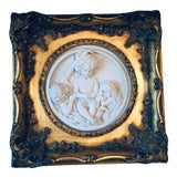 Image of Antique French Molded Plaster Plaque in Gilt Frame For Sale
