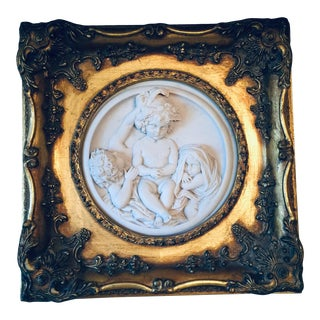 Antique French Molded Plaster Plaque in Gilt Frame For Sale