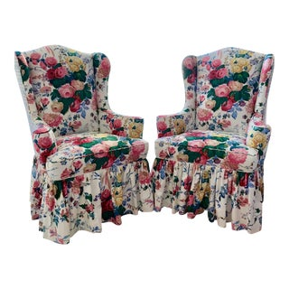 Linda Ronstadt Collection Pair of Modern Wingback Chairs For Sale