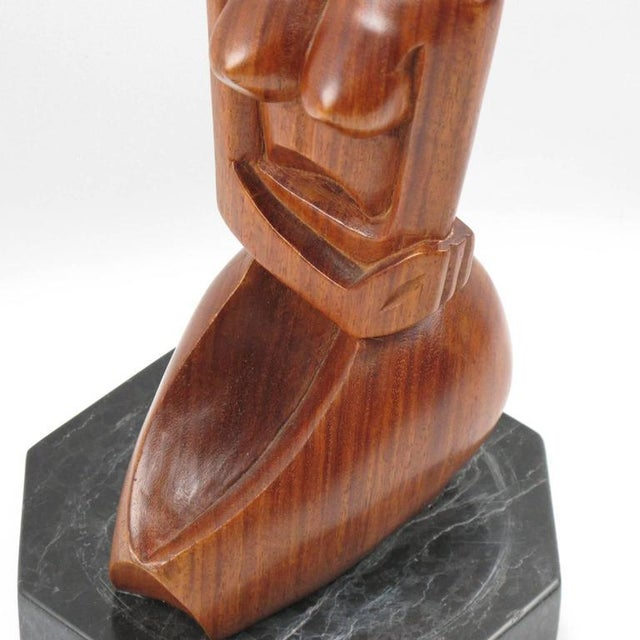 Brown Mid-Century Cubist Carved Mahogany Woman Sculpture For Sale - Image 8 of 11