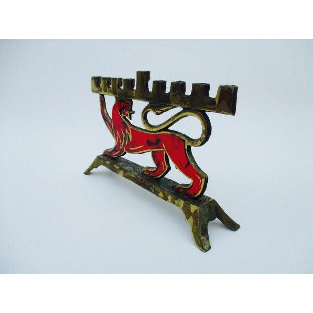 Hen Holon Brass & Enamel Lion Menorah - Image 5 of 9