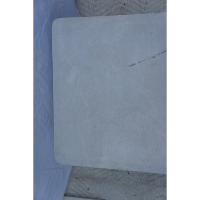 Contemporary Mid-Century Modern Italian Carrara Marble Square End Table For Sale - Image 3 of 11