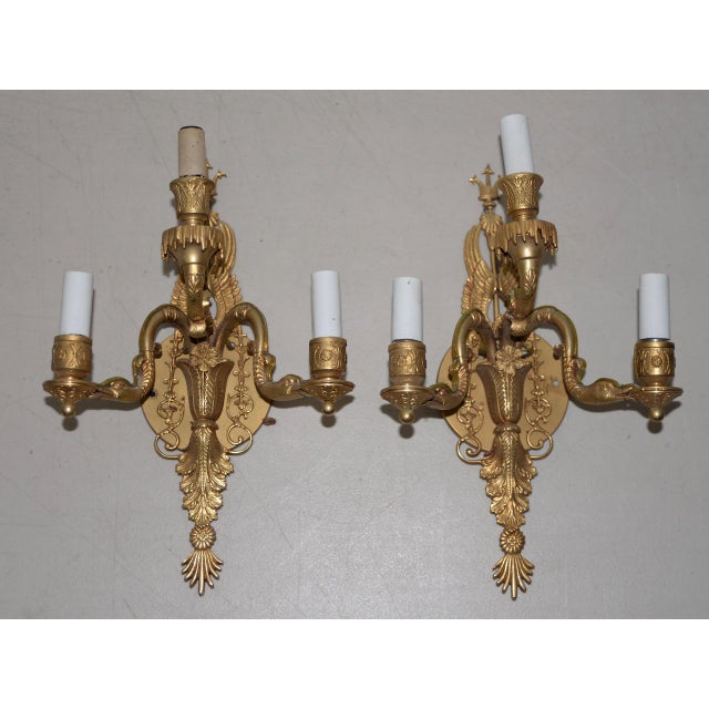 Brass 19th Century Classical Gilded Brass Sconces - a Pair For Sale - Image 7 of 7