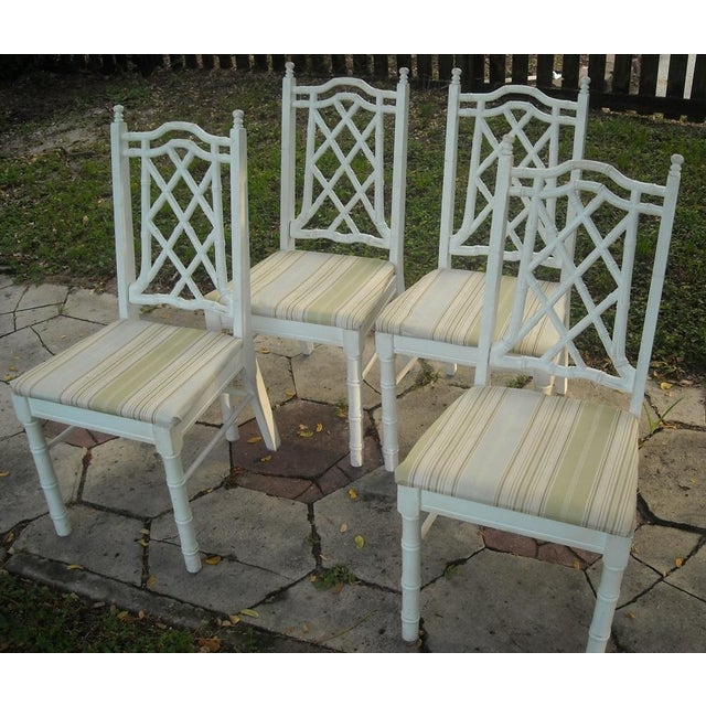 Vintage Faux Bamboo Dining Chairs - Set of 4 - Image 3 of 9