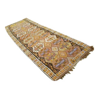 1970s Vintage Geometrical Turkish Kilim Rug Runner - 4′2″ × 12′4″ For Sale