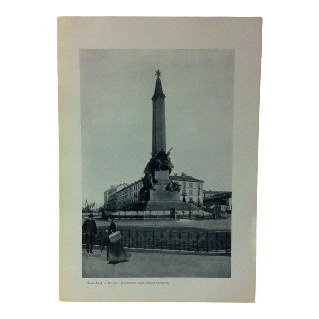 """Circa 1930 """"Monumento Delle Cinque Gi """" Print of Milano Italy For Sale"""