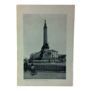 """Circa 1930 """"Monumento Delle Cinque Giornate"""" Print of Milano Italy For Sale"""