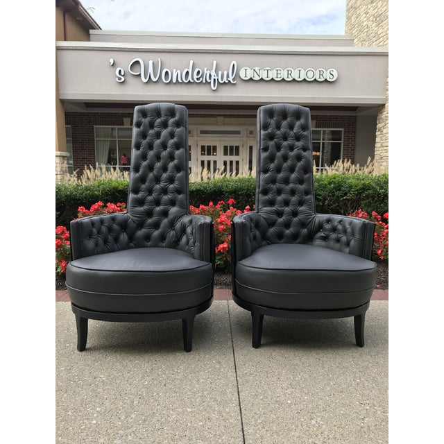 Black Vintage Mid Century Modern Adrian Pearsall Gray Leather Tufted Black Velvet Occasional Chairs- a Pair MCM For Sale - Image 8 of 8