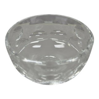Orrefors Crystal Glass Round Coin Dot Bowl For Sale