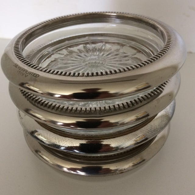 Vintage Italian Crystal Silver Plated Rim Coasters by Leonard - Set of 4 For Sale - Image 11 of 11