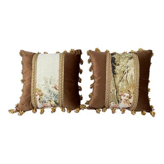 French Velvet/Embroidered Pillows With Bows and Crystal - a Pair For Sale