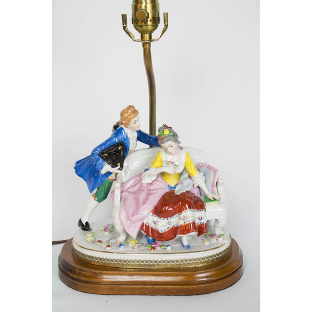 Restored Vintage Figural Lamp With Seated Couple For Sale In Boston - Image 6 of 7