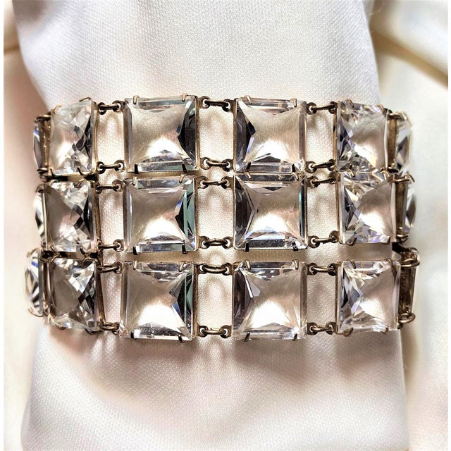 Silver Mid-Century Clear Faceted Crystal Bracelet For Sale - Image 8 of 9