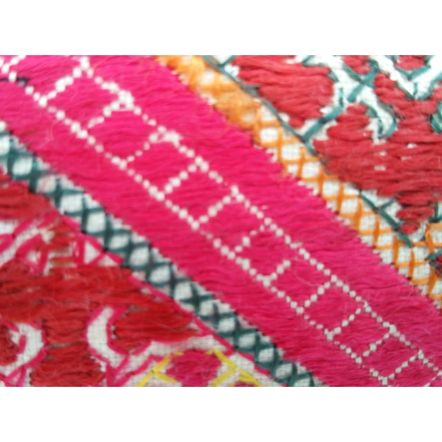 Hand-Embroidered Silk Lumbar Pillow For Sale - Image 5 of 6