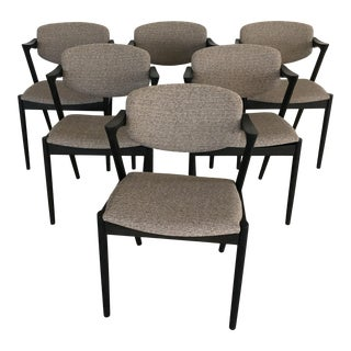 1960s Mid-Century Modern Kai Kristiansen Restored, Ebonized Dining Chairs, Inc. Reupholstery - Set of 6 For Sale
