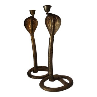 1960s Egyptian Revival Brass Cobra Candlesticks - a Pair