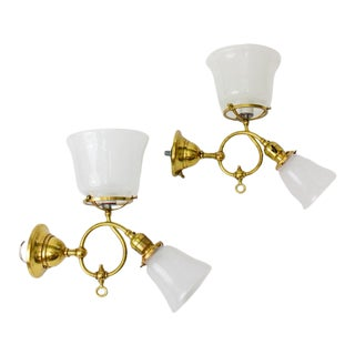 Late 19th Century Brass Gas and Electric Sconces - a pair For Sale