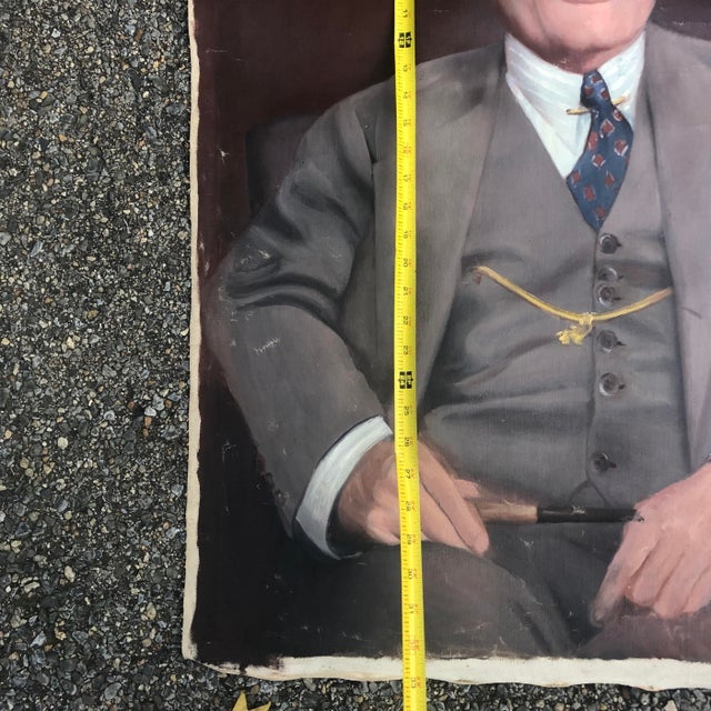 Hollywood Regency 1950s Vintage Regal Business Man With Pipe Portrait Oil on Canvas Painting For Sale - Image 3 of 8