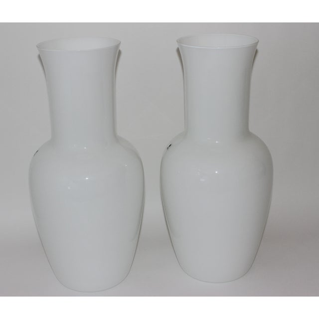 Glass Vintage Venini Murano White Glass Vases - a Pair - Part of a Collection For Sale - Image 7 of 10