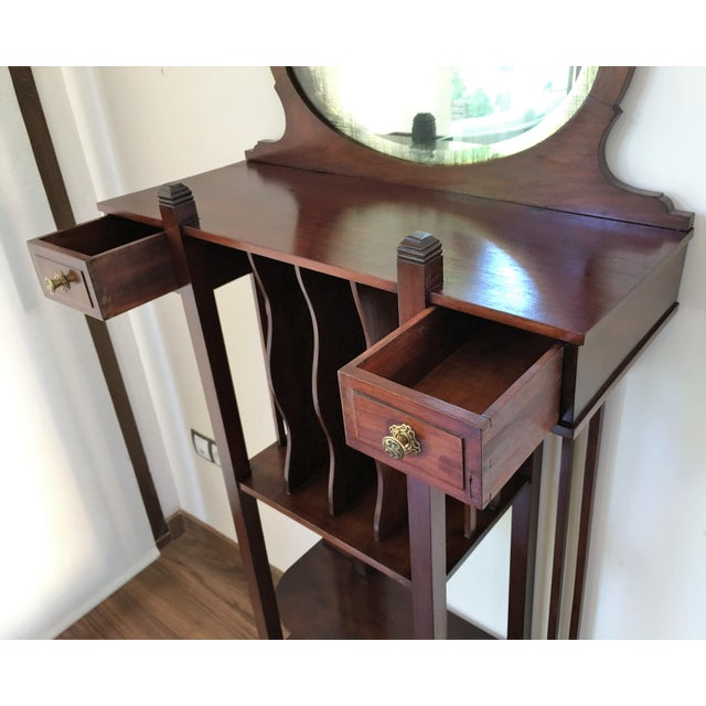 1920s Art Deco Vinyl Cabinet Vanity in Mahogany For Sale - Image 4 of 8