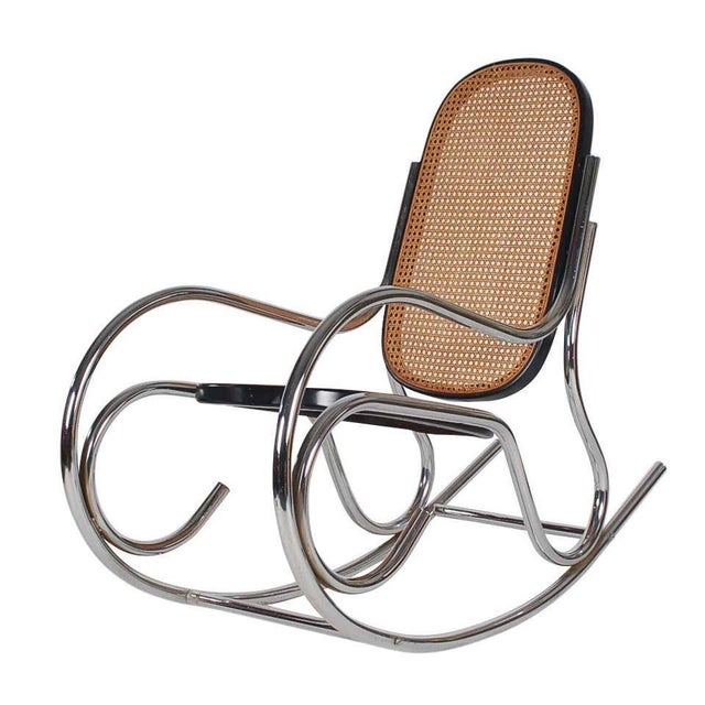 Brown 1970s Mid-Century Scrolled Chrome and Cane Rocking Chairs - a Pair For Sale - Image 8 of 10