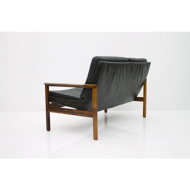 Scandinavian Settee in Rosewood and Black Leather Sofa, 1960s