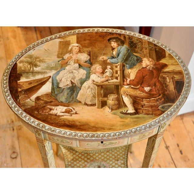 Period and original Adam style painted work or sewing table Neoclassical Hogarth type painting on top lid and a narrative...
