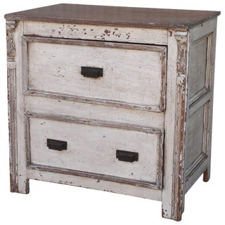 19th C. Two-Drawer Chest or End Table, Original Paint For Sale