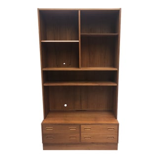 Danish Modern Shelving Unit With Four Drawer Base For Sale