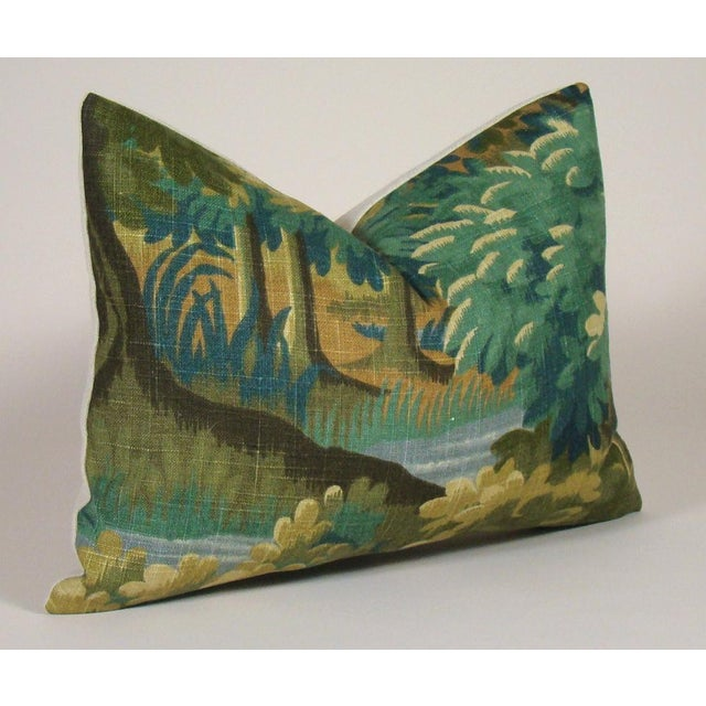Lovely verdure forest print linen pillow cover in shades of gold, sage, olive, green and blue, backed in tan linen and...