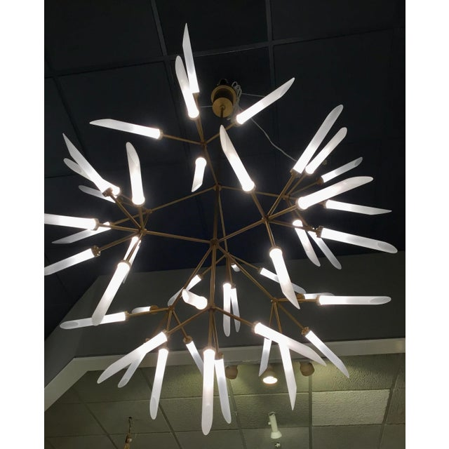 Mid-Century Modern Mid-Century Moder Style Brass and Frosted Glass Sculptural Chandelier For Sale - Image 3 of 5