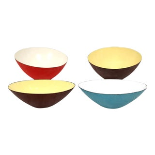 1960s Italian Raymor Enamel Bowl Collection - Set of 4 For Sale