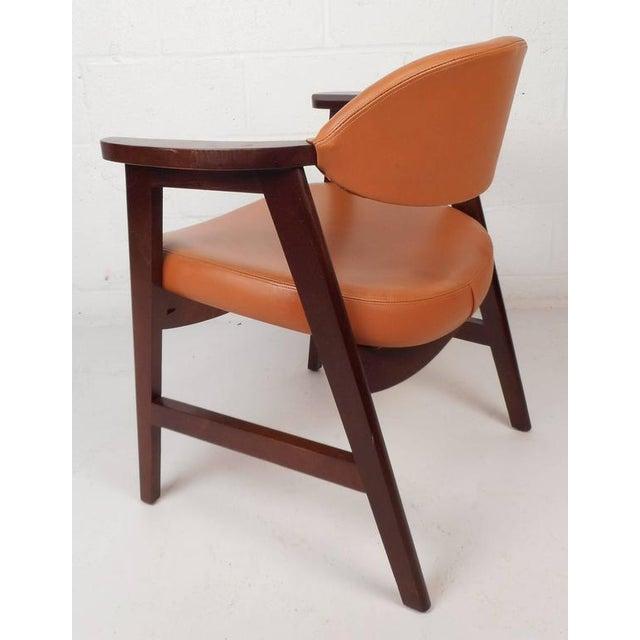 Mid-Century Modern Vinyl Dining Chairs - Set of 4 - Image 4 of 8
