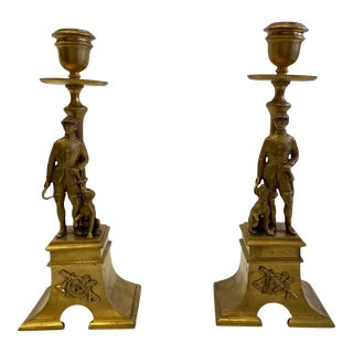 French Gilt Bronze Equestrian Horseman & Hound Dog Candlesticks -A Pair For Sale