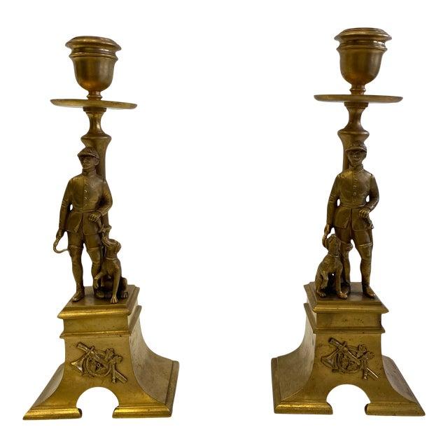 French Gilt Bronze Equestrian Horseman & Hound Dog Candlesticks -A Pair For Sale