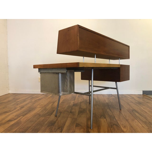 1940s George Nelson for Herman Miller Walnut, Steel and Leather Mid Century Desk For Sale - Image 5 of 12