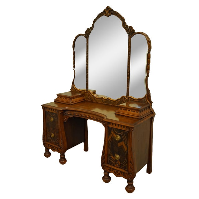 """Bassett Furniture French Regency Style 47"""" Vanity With Mirror For Sale"""