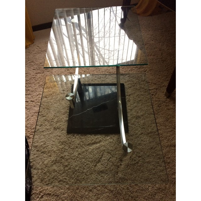 Modern Glass, Chrome & Marble Base Swivel Coffee Table - Image 7 of 11