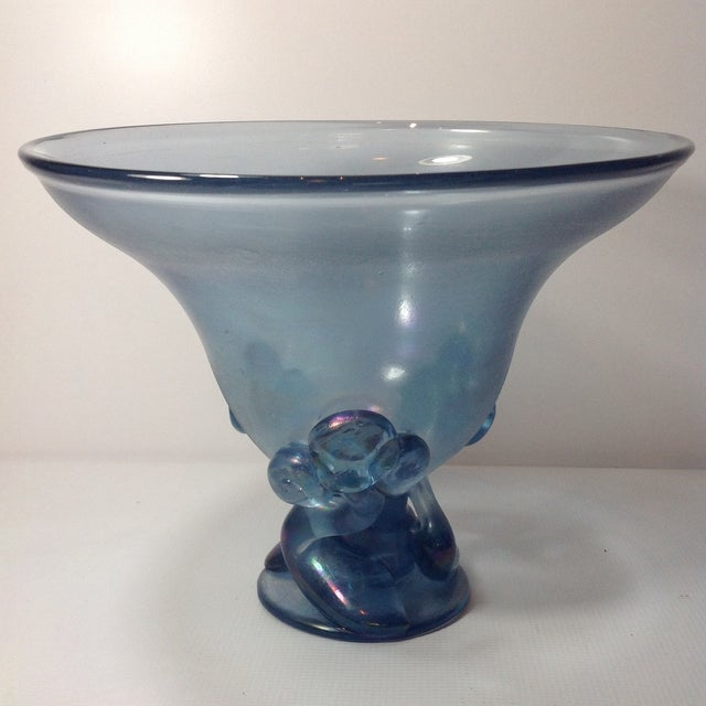 Signed Steuben Iridescent French Blue Punchbowl - Image 3 of 7