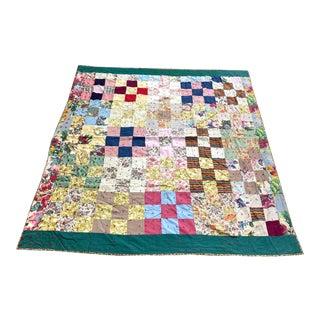1940s Vintage Handmade Patchwork Quilt For Sale
