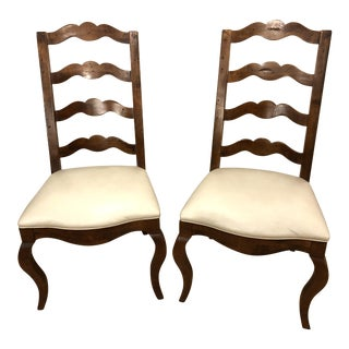 Century Cream Faux Leather Side Chairs - a Pair