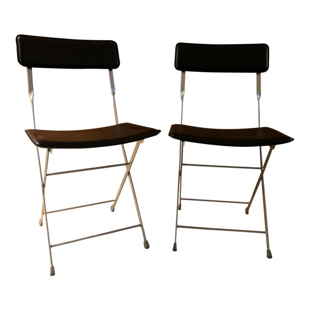 Admirable Lina Black Leather Folding Chairs A Pair Caraccident5 Cool Chair Designs And Ideas Caraccident5Info