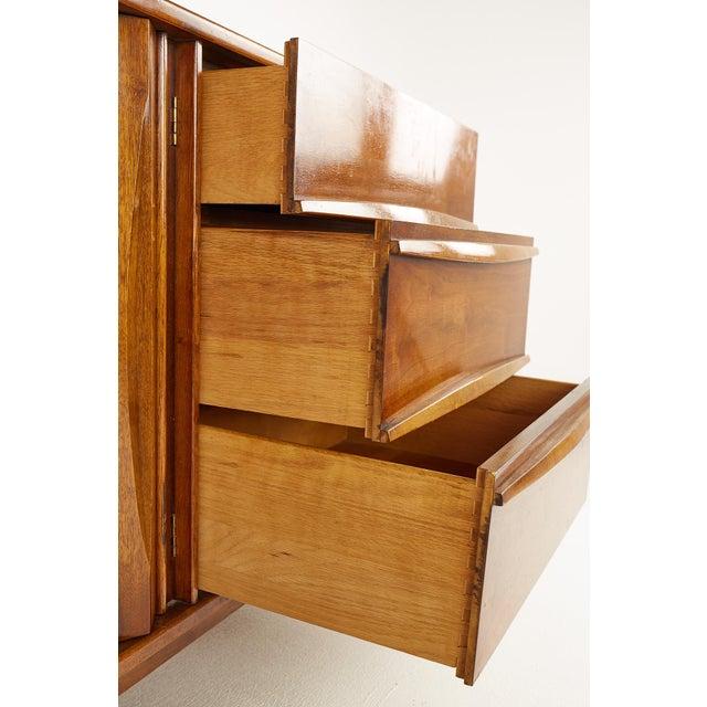 Thomasville Brutalist Mid Century Walnut Lowboy Dresser For Sale - Image 10 of 13