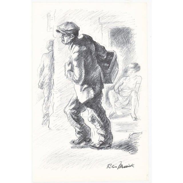 1930s 1930s Ben Messick Lithograph of Street Vendor For Sale - Image 5 of 6